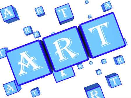 creative arts: Art Dice Showing Creative Design 3d Rendering