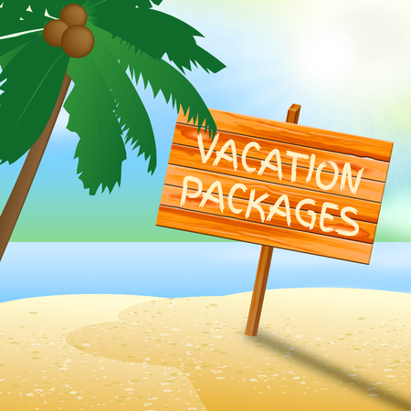 time off: Vacation Packages Sign On Beach Indicates Time Off And Holidays