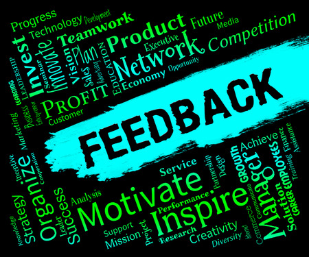 grading: Feedback Words Representing Grading Evaluation And Rating Stock Photo