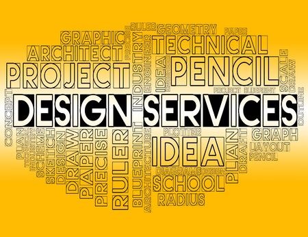 graphic designing: Design Services Showing Graphic Creation And Developing Stock Photo