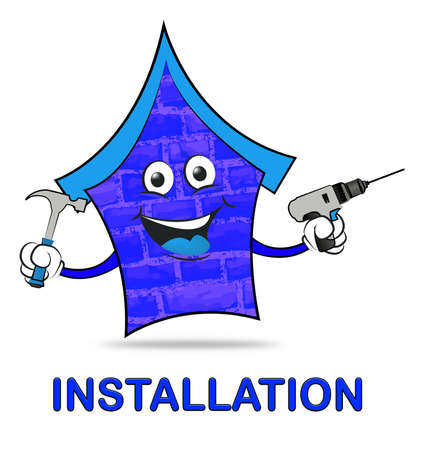 installer: House Installation Icon With Tools Shows Building Improvement And Fixing