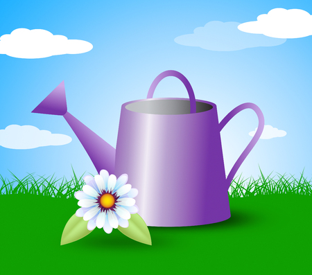 sowing: Watering Can Representing Gardens Outdoors And Plants