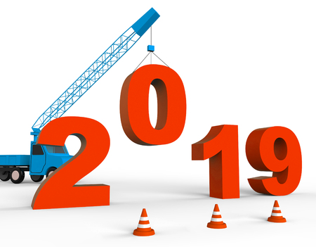 Twenty Nineteen Meaning 2019 New Year 3d Rendering Stock Photo