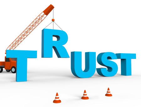 creer: Build Trust Indicating Believe In People 3d Rendering Foto de archivo