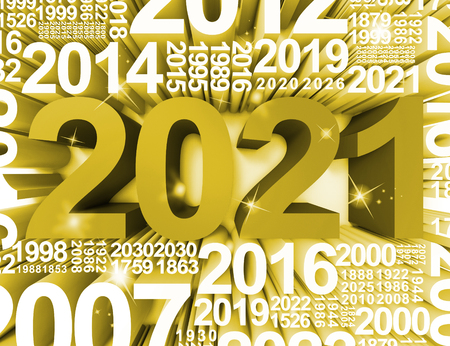 twenty one: Two Thousand Twenty One New Year Symbol Or 2021 3d Rendering Stock Photo