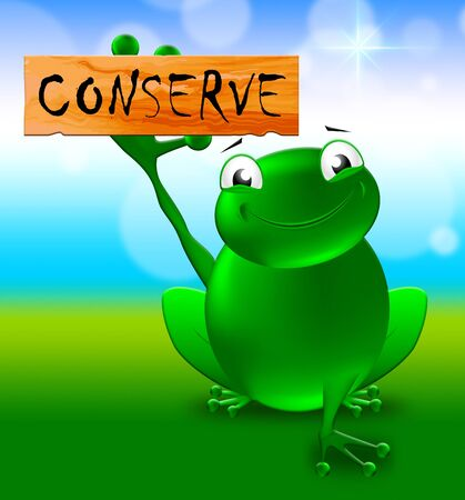 Frog With Conserve Sign Shows Natural Preservation 3d Illustration
