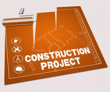 housing project: Construction Project Paint Roller Shows Building Plan 3d Illustration Stock Photo