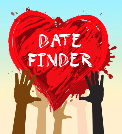 finders: Hands Holding Date Finder Heart Indicates Search For Love 3d Illustration