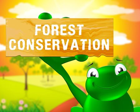 Frog With Forest Conservation Sign Shows Natural Preservation 3d Illustration