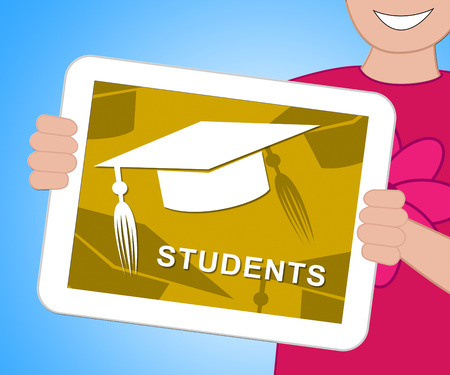 Students Mortarboard Tablet Representing Graduate Learning And Education 3d Illustration