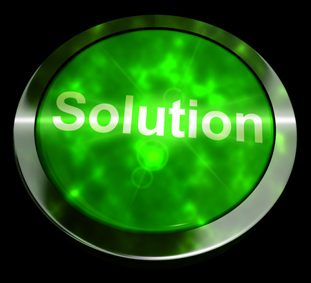 Solution Computer Button In Green Showing Success And Strategies 3d Rendering