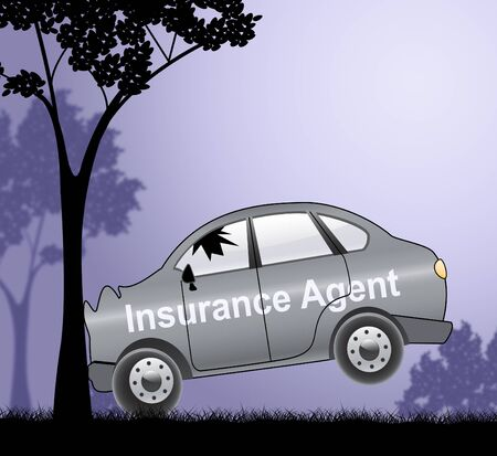 middleman: Auto Insurance Agent Crash Showing Car Policy 3d Illustration Stock Photo