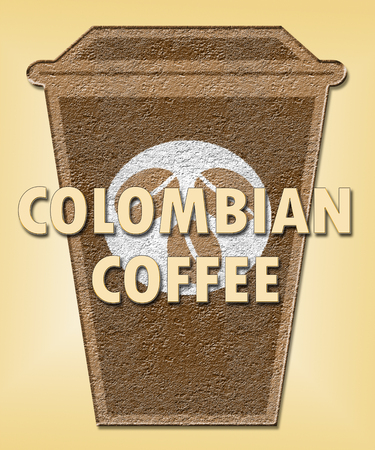 cafe colombiano: Colombian Coffee Cup Means Colombia Brew Or Beverage