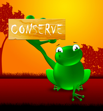 Frog With Conserve Sign Showing Natural Preservation 3d Illustration