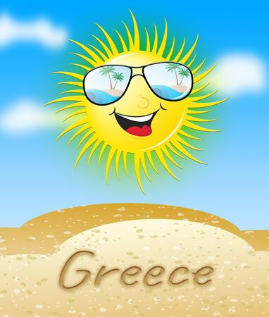 Greece Sun With Glasses Smiling Meaning Sunny 3d Illustration Stock Photo