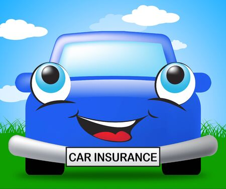 insure: Car Insurance Smiling Vehicle Represents Auto Policy 3d Illustration
