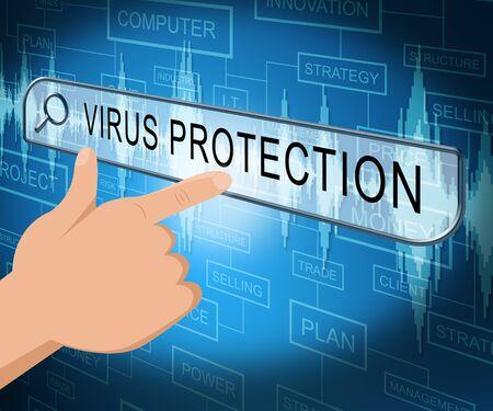 computer virus protection: Virus Protection Online Screen Shows Computer Antivirus 3d Illustration Stock Photo