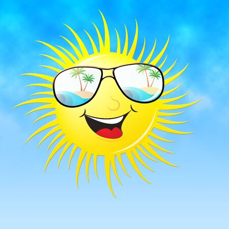 warmth: Summer Sun With Sunglasses Smiling Means Heat And Warmth Stock Photo