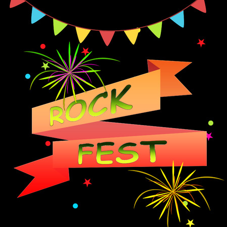 Rock Fest Ribbons And Fireworks Shows Music Festival 3d Illustration