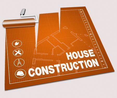 home builder: House Construction Paint Roller Shows Home Builder 3d Illustration