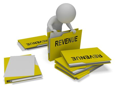earns: Revenue Character And Folders Indicates Forecast Wage 3d Rendering