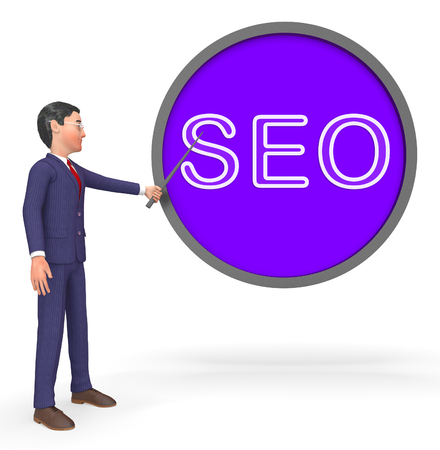 Seo Button Sign Represents Search Engines 3d Rendering