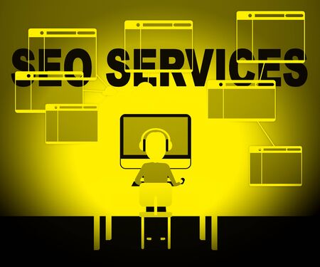 Seo Services Character Representing Search Sem 3d Illustration Stock Photo