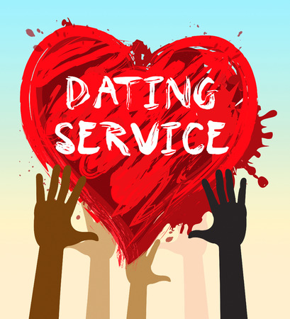 Hands Holding Dating Service Heart Shows Online Love 3d Illustration Stock Photo