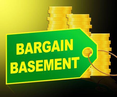 basement: Bargain Basement Label And Coins Represents Retail Reduction 3d Illustration