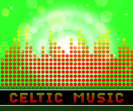 Celtic Music Graphic Equalizer Represents Sound Track And Gaelic