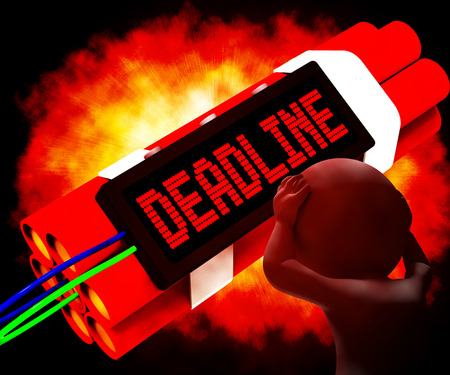 tardiness: Deadline On Dynamite Shows Pressure And Urgency 3d Rendering Stock Photo