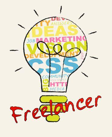 Freelancer Lightbulb Words Shows Subcontracting Freelancers 3d Illustration