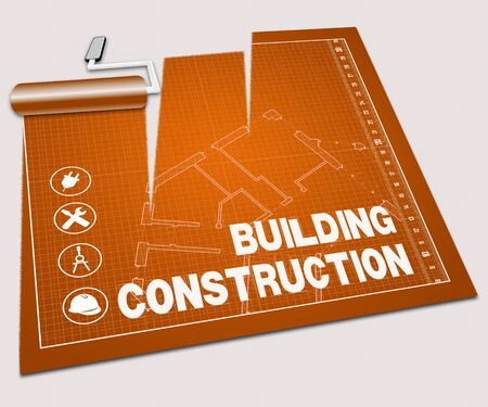 home builder: Building Construction Paint Roller Shows Home Builder 3d Illustration