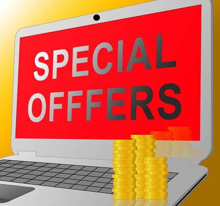 online specials: Special Offers Laptop Message Represents Big Reductions 3d Illustration