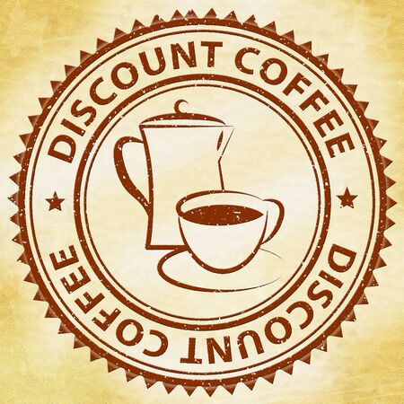 Discount Coffee Stamp Meaning Bargain Or Cheap Beverage Stock Photo