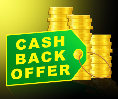 concession: Cash Back Offer Label And Coins Represents Partial Refund 3d Illustration Stock Photo