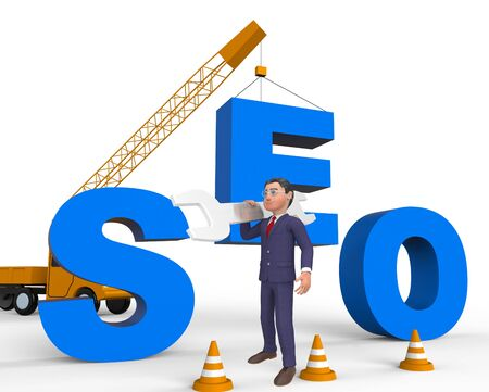 Build Seo Character Meaning Search Engine 3d Rendering Stock Photo