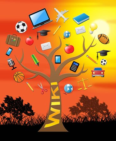 wiki: Wiki Tree With Icons Shows Information And Advisor 3d Illustration Stock Photo