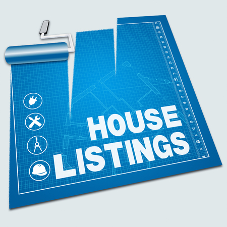 listings: House Listings Paint Roller Shows Property For Sale 3d Illustration Stock Photo