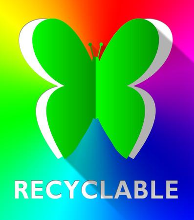 reciclable: Reciclables de la mariposa del recorte Muestra Eco Friendly Ilustración 3d