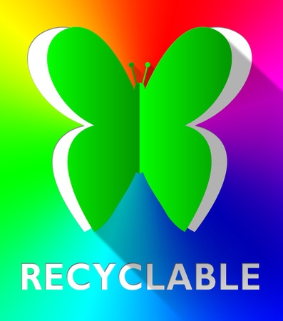 Recyclable Butterfly Cutout Shows Eco Friendly 3d Illustration Reklamní fotografie