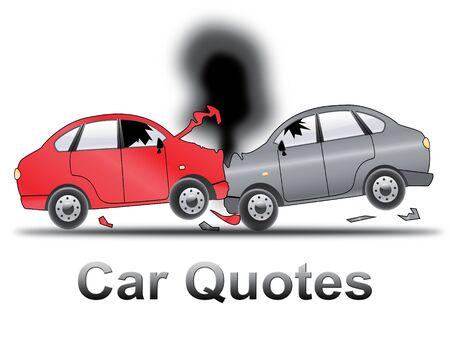 insure: Car Quotes Crash Shows Auto Policy 3d Illustration