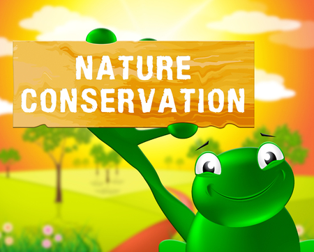 Frog With Nature Conservation Sign Shows Preservation 3d Illustration Stock fotó