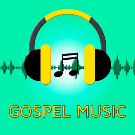 harmonies: Gospel Music Headphones Sound Shows Christian Teachings 3d Illustration Stock Photo