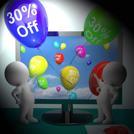 markdown: Balloons From Computer Show Sale Discount Of Thirty Percent 3d Rendering