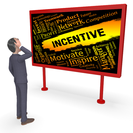inducement: Incentive Words Character Meaning Bonus Rewards And Bonuses 3d Rendering