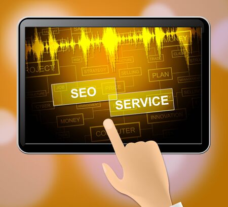 search engine optimization: Seo Service Tablet Meaning Search Engine Optimization And Indexing 3d Illustration