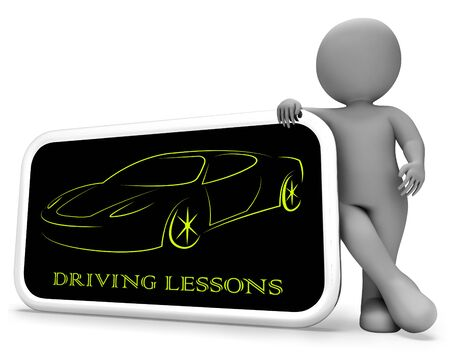 lessons: Driving Lessons Showing Passenger Car And Driver 3d Rendering Stock Photo