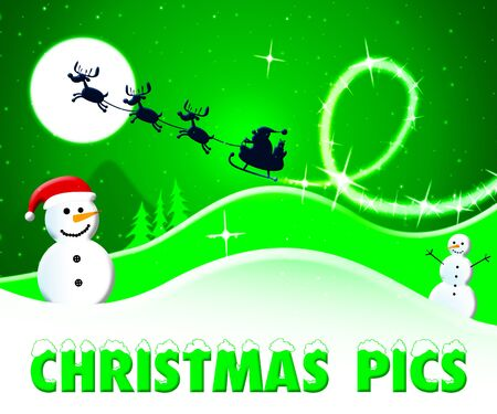 Christmas Pics Snowmen And Santa Shows Xmas Images 3d Illustration Stock Photo