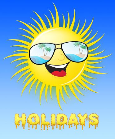 Holidays Sun With Glasses Smiling Means Heat 3d Illustration